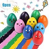 RenFox Crayons de Bébé 9 Couleurs Crayons Non Toxiques pour Bébé Caryons pour Tout-Petits Jouets pour Tout-Petits Bébés Enfants Lavables et 100% Naturels, Cadeau de Pâqu(Forme D'oeuf)