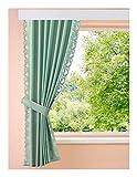 HOME WOHNIDEEN 4 tlg. 2 x B/150 x H/145 cm Seitenschalgarnitur Mintgrün Dekoschal Vorhang Gardinen