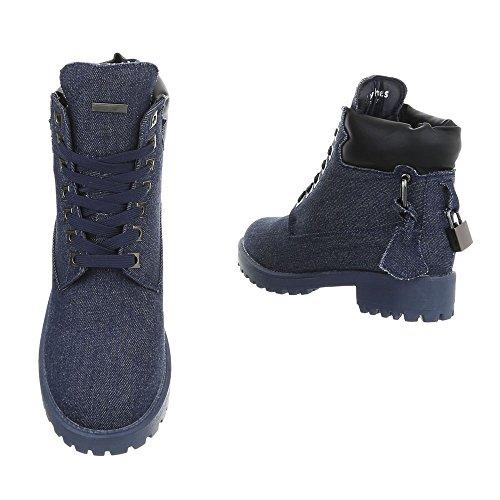 Ital-Design Schnürstiefeletten Damenschuhe Schnürstiefeletten Blockabsatz Schnürer Schnürsenkel Stiefeletten Blau LS3007