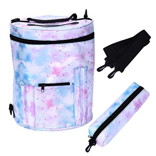 MagiDeal aufbewahrungstasche / Nähtasche / Organizer mit Taschen inkl. einer Tasche für das Zubehör - Schultergurt, um Strickprojekte unterwegs mitzunehmen Blau