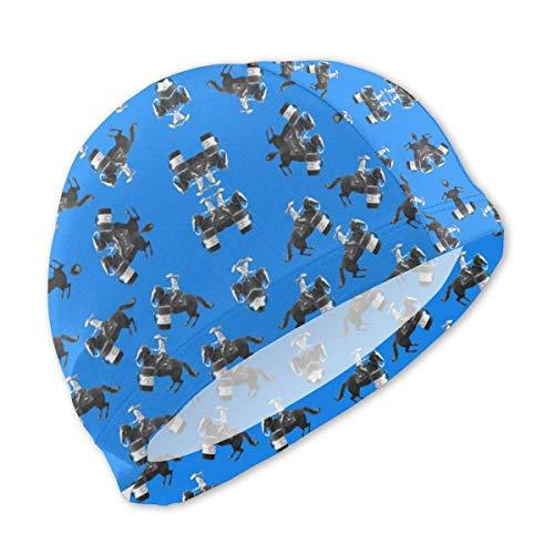 Badekappe, Badehut, Barrel Racing Turn Swimming Cap for Kids Junior Swim Caps-Waterproof Long Hair Swim Hat Cover Ears Comfortable Bathing Cap -