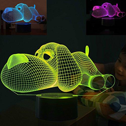 3D hund Illusions Lampen, Tolle 7 Farbwechsel Acryl berühren Tabelle Schreibtisch-Nachtlicht mit USB-Kabel für Kinder Schlafzimmer Geburtstagsgeschenke Geschenk