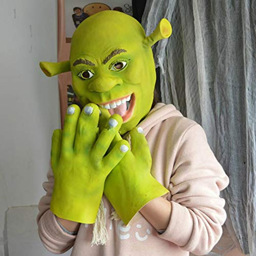 Green Shrek Latex Masks Movie Cosplay Prop Adult Animal Party Mask for Halloween with Gloves Masquerade Cosplay Costumes Props Shrek Latex