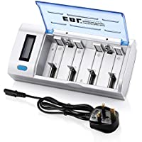 EBL LCD Display Universal Battery Charger with Discharge Function for Ni-MH Ni-CD AA, AAA, C, D Rechargeable Batteries
