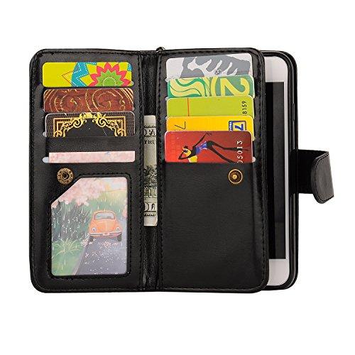 iPhone X Geldbörse + Abnehmbare Fall, [9Kartenfächer + 2CASH Taschen] PU Leder Geldbörse Flip Case Schutz Cover Hartschale Handy magnetisch Case & Handschlaufe für iPhone X 5.8-inch schwarz Schwarz  6 Plus/6S Plus