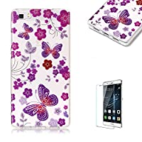 For Huawei P8 Lite Sparkly Sequins soft TPU+IMD Case. Brilliant lovely Colored Drawing Parttern Lightweight Ultra Slim Anti Scratch Transparent Soft Gel Silicone TPU Bumper Protective Case Cover Shell for Huawei P8 Lite - Red Butterfly