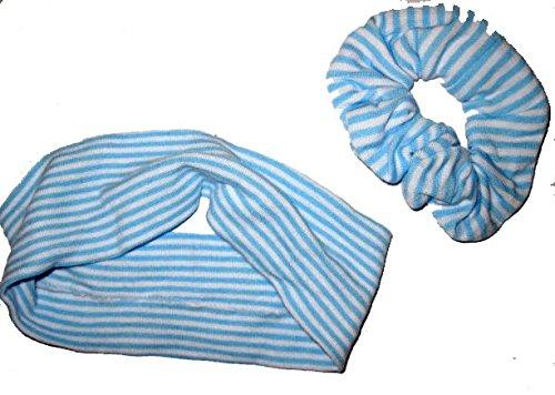 Set bandeau et élasique avec lignes bleu marines