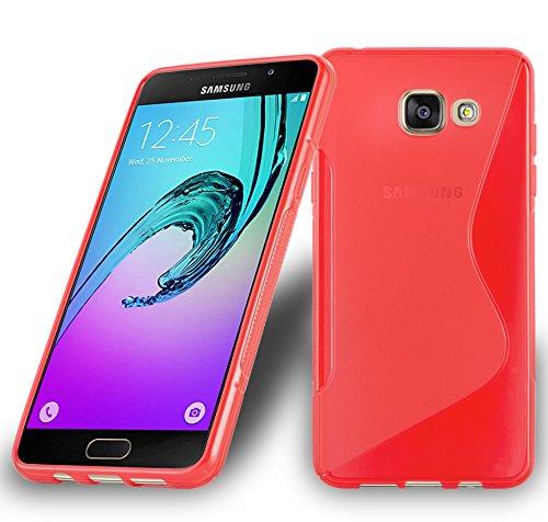 Preisvergleich Produktbild Cadorabo Hülle für Samsung Galaxy A7 2016 (6) - Hülle in Inferno ROT – Handyhülle aus flexiblem TPU Silikon im S-Line Design - Silikonhülle Schutzhülle Soft Back Cover Case Bumper