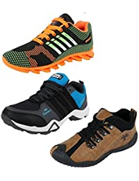 Chevit Mens Quality Pack of 3 Running Shoes (Sports Shoes)