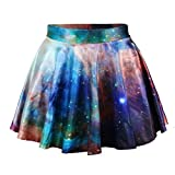Fashion Damen Sommerkleid Retro Digital Print Vintage Kleid Minikleid Minidress Minirock Rock Skirt (Galaxie)