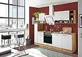 respekta salle à manger cuisine bloc de cuisine cuisine intégrée 250 cm Chêne sauvage blanc