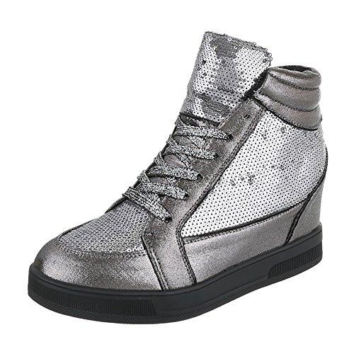 Ital-Design , chaussures compensées femme gris argent