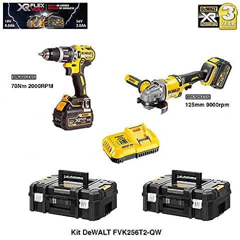 DEWALT Kit FVK256T2-QW FLEXVOLT 54V/18V(DCD796 + DCG414 + 2 batteries 54V/18V Li-Ion 6,0 Ah + DCB118 + 2 x TSTAK II)