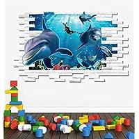 3d pesci oceano adesivo in vinile da parete Casa carta rimovibile Camera da letto, soggiorno cucina pranzo Art Picture Murals fai da te Stick bambini Kids Nursery Baby Playroom