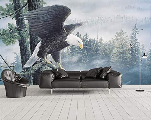 Lyqyzw Benutzerdefinierte Hochwertige Seidentapete Wandbild Wald Herrschsüchtig Adler Flügel Landschaft Wand Dekorative Malerei Tapete-336X238Cm (Auf Den Flügeln Des Adlers Buch)