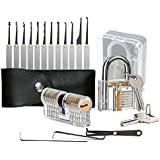 Cleak 15 Pieces Two Transparent Padlocks Training Exercise Lock Pick Set Lockpicking, Lock Set with Lock Picking Key, Extractor Tool for Beginner and