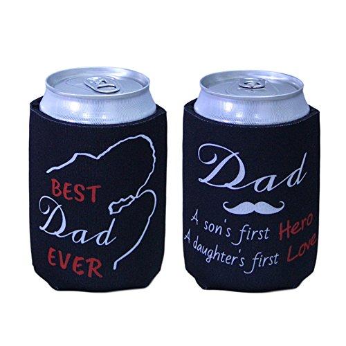 tainada Neopren Bier Getränk trinken können Flasche Coolie Kühler Isolatoren Sleeve Cover Huggie Halterung (2Pcs, doppelseitig Druck) mit einer Bonus absorbierenden Untersetzer Best Dad Ever