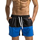 NPRADLA Bademode Badehose Badeshorts Herren Männer Mit Verstellbarem Tunnelzug, Breathable Trunks Hosen Color Stitching Bademode Strand Shorts Slim Wear(Schwarz,XXL)