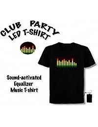 LED T-Shirt, Equalizer, Party, Club, Disco Hingucker Größe M