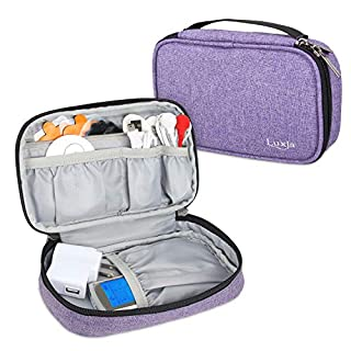 Luxja Carrying Case for Dual Tens Machine, Storage Bag Compatible with Tens Muscle Stimulator Med-Fit 1, Tote Bag for Pain Relief Machine (Empty Case Only and Fits for Most Brands), Purple