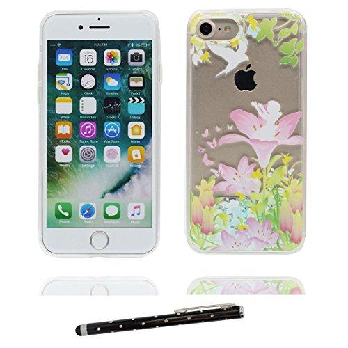 """iPhone 7 Plus Coque, iPhone 7 Plus étui Cover 5.5"""", Lily Bling Bling Glitter Fluide Liquide Sparkles Sables, iPhone 7 Plus Case, Shell -anti-chocs - Lis et stylet Lis"""