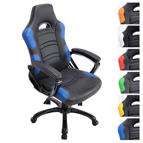 CLP Fauteuil de Bureau Réglable en Hauteur Ricardo Similicuir Chaise de Bureau Ergonomique Design Gamer Pivotante avec Accoudoir Noir/Bleu