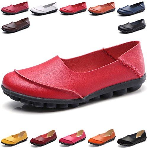 Hishoes Mocasín Cuero Mujer Loafers Cómodo