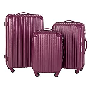 Travelhouse Hard Shell Travel Luggage Sets of 3 TSA Locks Lightweight suitcase On Wheels Holdall (20/24/28 inch) (Purple)