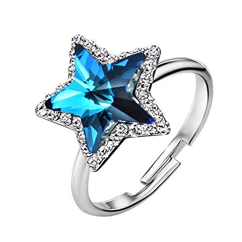 NEOGLORY Damenring Stern Swarovski Elements Strass verstellbar blau 16 - Für Und Einfache Halloween-kostüme Jugendliche Niedliche
