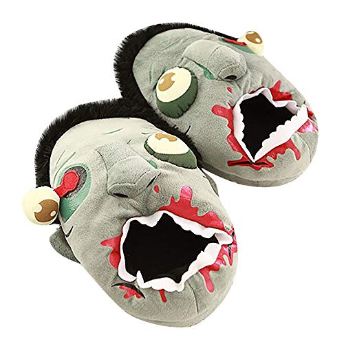 Vovotrade ♧ ciabatte in cotone zombie divertenti, ciabatte in cotone zombie divertenti per halloween. calde decorazioni natalizie per la casa (grigio)
