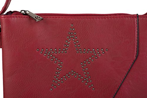 styleBREAKER Messenger Bag Umhängetasche mit Nieten Stern und überlappender Optik, Schultertasche, Handtasche, Damen 02012105, Farbe:Dunkelblau Bordeaux-Rot