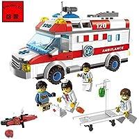 Ingenious Toys® ambulance rescue team motorbike 4 minifigures / 328pcs compatible building blocks #1118