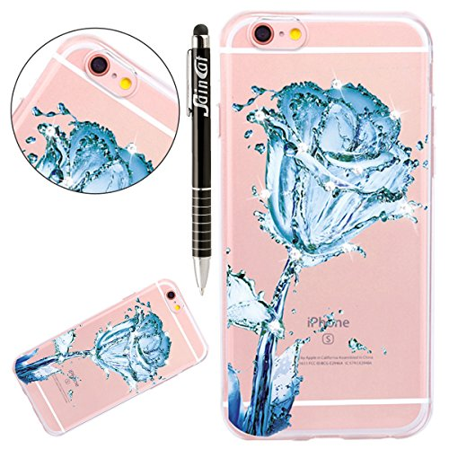 iPhone 7 Hülle,iPhone 7 Silikon Schutz Handy Hülle Kratzfeste Tasche Handyhülle [Mit 1 X Frei Stylus Stift], SainCat iPhone 7 Gel Case Weiche Bling Diamant Schutzhülle Silikon Crystal Clear Case Durch Blue Rose