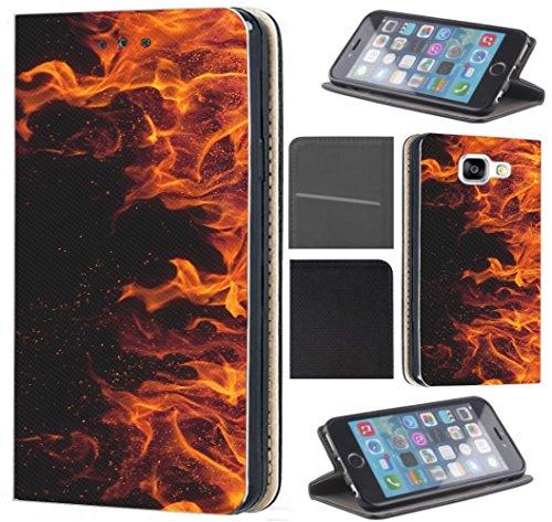 Neo Hülle von CoverHeld Premium Flipcover Hülle Samsung S3/S3 Neo aus Kunstleder Flip Case Motiv (169 Feuer Schwarz Rot) ()