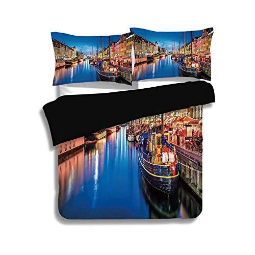 Schwarzer Bettbezug-Set, Urban, Entertainment District Dänemark Nyhavn Canal Kopenhagen Flussboote Geschäfte Attraktion, Multicolor, Dekor 3 Stück Bettwäsche-Set von 2 Pillow Shams, QUEEN / FULL Size