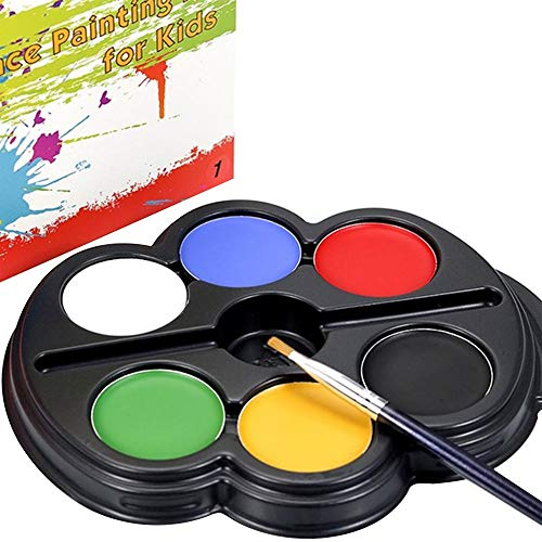 Sicher Gesichtslack-Set für Kinder Kind, 6 Farben, ungiftig, ideal für Partys, Festival, Event, mit kleinem Pinsel Ungiftig (Color : 1)