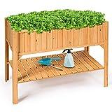 Costway Jardinière sur Pieds Pot de Fleurs Bac à Fleurs en Bois avec Etagère pour Jardin 119 x 57 x 90 cm