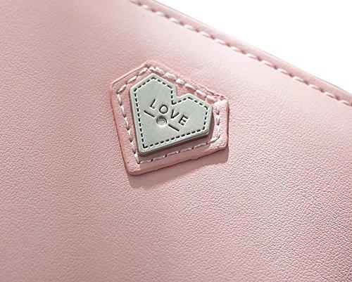 Nawoshow Borsa piccola borsa della borsa del raccoglitore del raccoglitore della borsa della frizione della borsa del cuore della borsa del raccoglitore delle piccole donne (Rosa) Viola