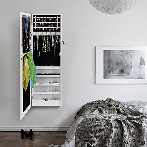 Songmics JBC24W Schmuckschrank und Wandspiegel zwei in einem, weiß, 36 x 120 x 9,5 cm - 4