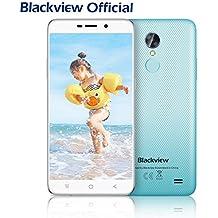 Smartphone libres, Blackview A10 5.0 pulgadas Moviles libres baratos con 2GB + 16GB y Android 7.0 - 3G Unibody Smartphone con Huella Dactilar, 2800mAh Batería y 5MP Cámara - Azul