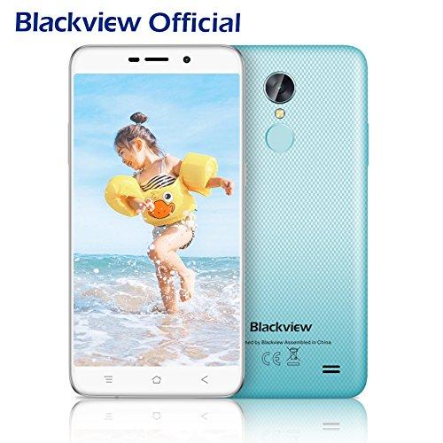 Smartphone libres, Blackview A10 5.0 pulgadas Moviles libres baratos con 2GB + 16GB y Android 7.0   3G Unibody Smartphone con Huella Dactilar, 2800mAh Batería y 5MP Cámara   Azul