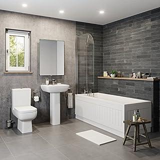 Affine Modern Bathroom Suite Toilet Basin Sink Full Pedestal Single Ended 1700mm Bath