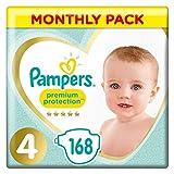 Pampers Pañales para Bebés, Protección Superior, Talla 4 (8-16 kg) - 168 pañales