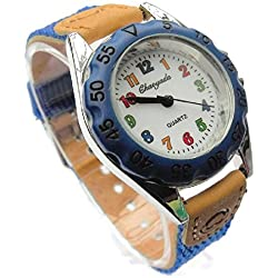 QBD High Quality Boys Girls Time Teacher Watch Kids Children's Gift Fabric Strap Tutor Student Cute Sports Colourful Easy Read Dial Wristwatch Dark Blue