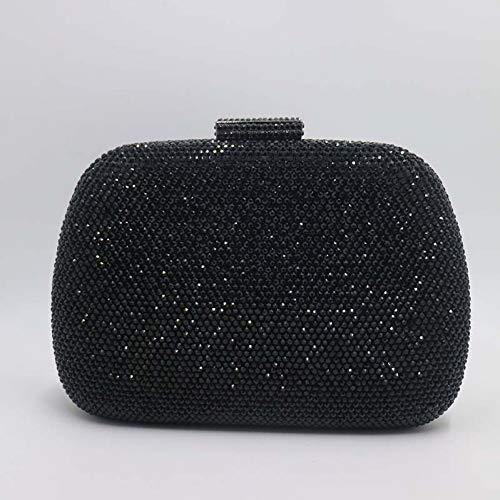 Crystal Abend Clutch Bag (HKDUC Womens Crystal Box Hard Case Abend Clutch Bag und Abendtaschen für Party Prom Evening Schwarz/Lila/Champagner)