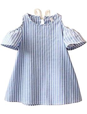 Vestido de niñas, FAMILIZO Niños Niñas Verano Princesa Vestido Linda Ropa Mezcla De Algodón Hombro De Rayas