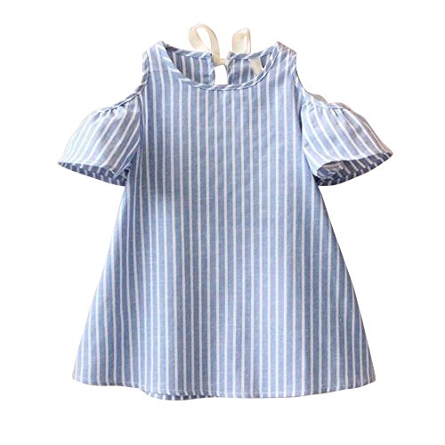 Kinderbekleidung,Honestyi Baby Mädchen Prinzessin Dress Short Sleeve Striped Kleider (15T, Blau)