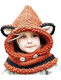 20eed844b146 opdamyi Bonnet Echarpe Set Hiver Cagoule Renard Unisexe Bebe Enfant Garcon  Fille Mignon Kawaii Chaud Tricote Laine Chapeau Bobs…