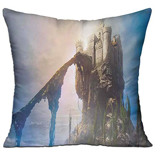 tgyew Medieval Decor Old Ancient Fantastic Castle On The Hill Legendary Royal Stories of Middle Age Mist Art Full Grey Blue Sofa Decor Throw Pillow Cover 18