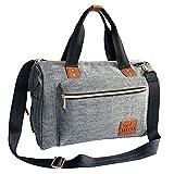 NICO Stilvolle Unisex Baby Wickeltasche, große Windel Wickeltasche, Essentials Organizer, isolierte Taschen mit Flasche Warmer Pouch, für Eltern oder Profis (grau / graue Farbe mit hochwertigen braunen PU Lederborten)